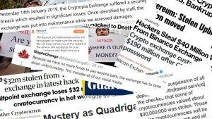 Lasciare i Bitcoin su un exchange - titoli di giornale su hacking e chiusure