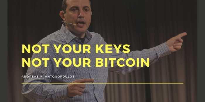 Not your keys Not your Bitcoin - Andreas Antonopoulos Citazione