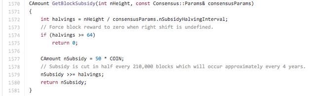 La funzione dell'halving nel codice di Bitcoin