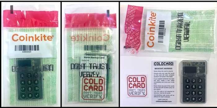 Contenuto confezione quando compri un portafoglio hardware 'Coldcard'