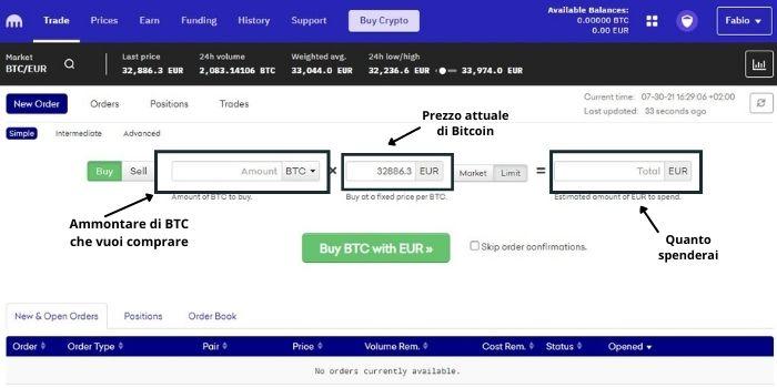 comprare frazioni di bitcoin - interfaccia kraken