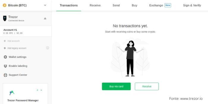 Una schermata dell'Interfaccia web Trezor Wallet