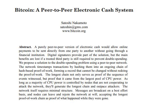 Abstract whL'abstract del white paper di Bitcoin che svela i trascorsi accademici di Satoshiite paper Bitcoin