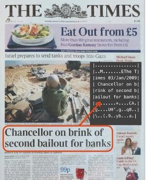 La copertina del Times con il titolo scritto nel Blocco Genesi del Bitcoin da Satoshi Nakamoto