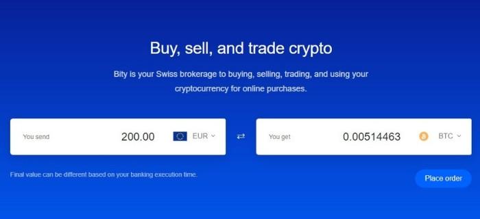 Schermata iniziale Bity per comprare bitcoin senza KYC